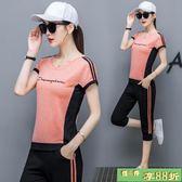 純棉休閒運動套裝女2018新款寬鬆時尚洋氣上衣配跑步兩件套顯瘦
