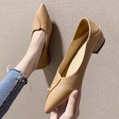 夏季新款春款單鞋女黑白色潮鞋粗跟高跟平底工作尖頭奶奶鞋子  夏季上新