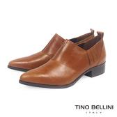Tino Bellini 義大利進口摩登雅痞女郎低跟皮鞋 _ 棕 VI1006E 歐洲進口款
