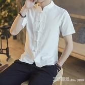短袖中國風夏男裝亞麻短袖男唐裝中式盤扣棉麻立領襯衫民族風麻布 【快速出貨】