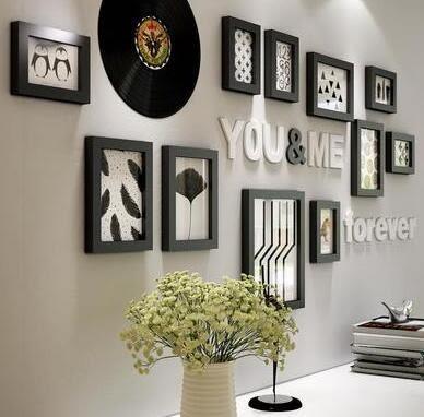 實木照片牆現代簡約客廳臥室牆面裝飾相框組合北歐風相片牆2423