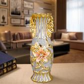 陶瓷中號歐式鍍金家居裝飾臺面花瓶花插磨砂擺件工藝品