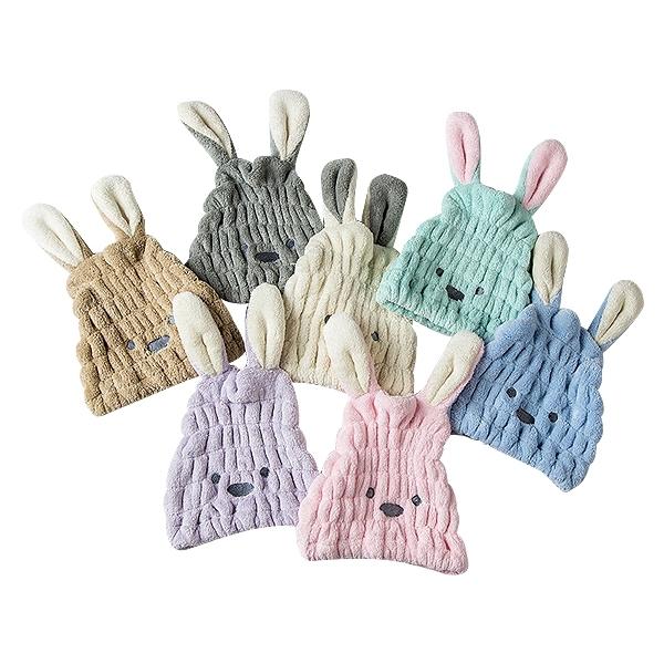 珊瑚絨長耳朵造型乾髮帽(1入) 顏色隨機出貨【小三美日】