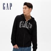 Gap男裝 Logo拉鏈長袖連帽休閒上衣 488109-純正黑