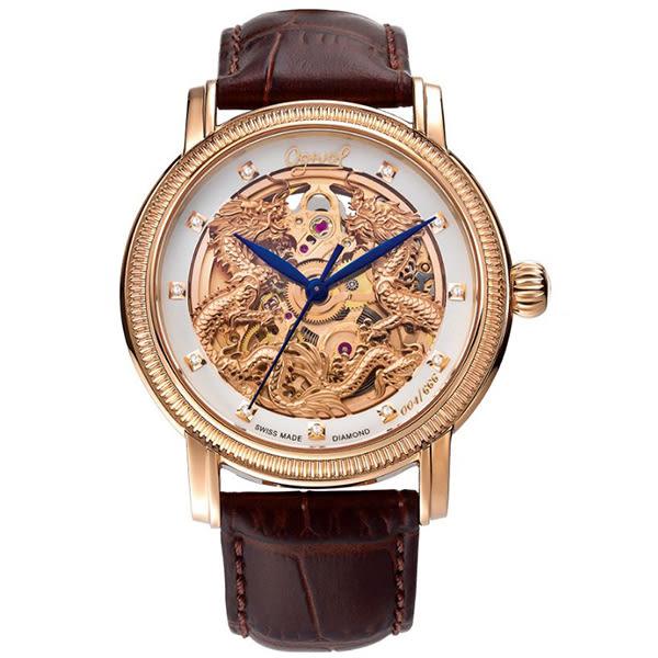 【台南 時代鐘錶 Ogival】愛其華 雙龍獻瑞 鏤空真鑽機械錶 358.652AGR 皮帶/玫瑰金 40mm