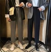 休閒褲子女 秋季新款韓版百搭鬆緊腰高腰顯瘦翻邊直筒褲西裝褲 安妮塔小鋪