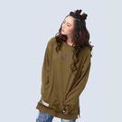 材質:內毛圈針織布。版型:針織寬版長袖上衣。