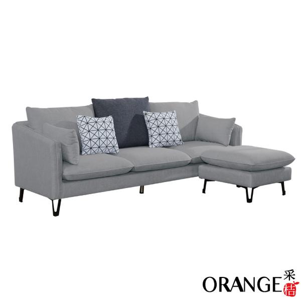 【采桔家居】貝潔  現代灰亞麻布獨立筒L型沙發組合(三人座+椅凳)