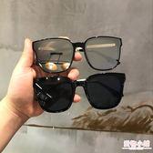 墨鏡 韓潮眼鏡女方形墨鏡ins平面鏡太陽鏡男女圓臉時尚太陽鏡