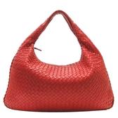 BOTTEGA VENETA 寶緹嘉 紅色編織羊皮半月型肩背包 【BRAND OFF】