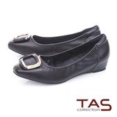 TAS 金屬飾釦綿羊皮內增高娃娃鞋百搭黑