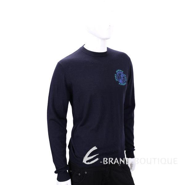 VERSACE 深藍色刺繡LOGO 針織上衣 1540272-34