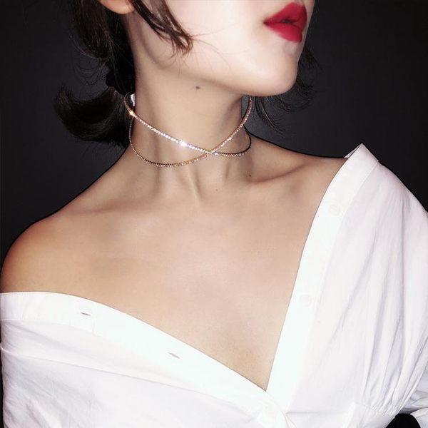 限定款鎖骨鍊 網紅項圈女簡約脖子飾品日韓創意潮人鎖骨鍊正韓學生脖頸項鍊女頸鍊