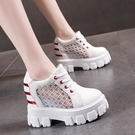 鬆糕鞋 內增高鞋夏季新款超高跟網鞋女韓版透氣內增高女鞋松糕底厚底女休閒鞋潮