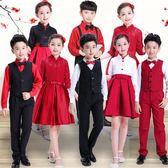 合唱團演出服中小學生兒童元旦詩歌朗誦服裝主持人女 優樂居