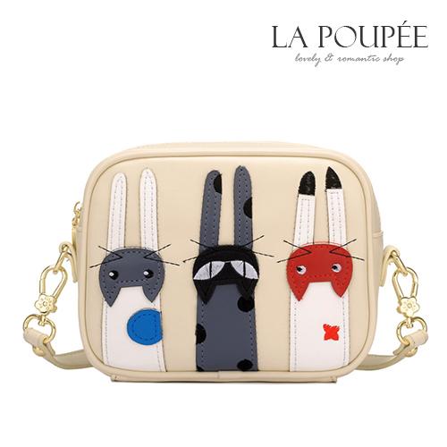 斜背包 俏皮可愛立體貓咪裝飾小方包 3色-La Poupee樂芙比質感包飾 (預購+好禮)