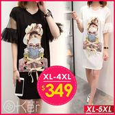 眼鏡女孩綁帶T恤洋裝 XL-5XL O-ker歐珂兒 166027