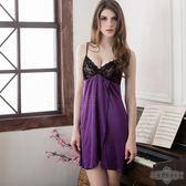 大尺碼唯美蕾絲開襟紫色柔緞二件式睡衣-寒狩將