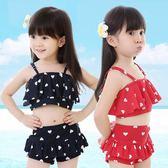 韓版兒童游泳衣女童女孩泳裝可愛荷葉邊分體裙式LJ3300『miss洛羽』