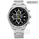 SEIKO 精工 / 8T67-00A0Y.SSB175P1 / PRESAGE 立體層次面板三眼計時不鏽鋼手錶 黑色 45mm