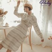 洋裝 格紋荷葉碎褶綁帶長袖長洋裝-Ruby s 露比午茶