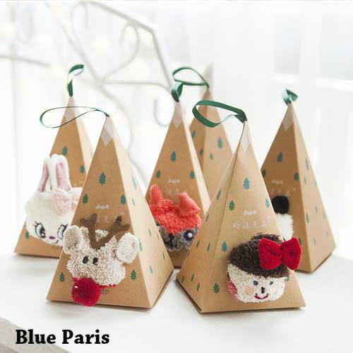 襪子 - 三角錐卡通動物造型毛絨襪子 短襪【21563】藍色巴黎《5款》現貨