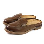 Hush Puppies 休閒鞋 懶人鞋 前包後空 棕色 牛皮 女鞋 6193W12W0602 no176