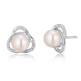 925純銀耳環珍珠(耳針式)-鑲鑽奢華氣質生日聖誕節交換禮物女飾品73ah29【巴黎精品】