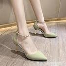 高跟涼鞋 包頭涼鞋女仙女風2021春季新款尖頭高跟鞋性感細跟一字扣帶羅馬鞋 【618 狂歡】