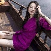 洋裝-蕾絲復古氣質鏤空修身九分袖連身裙72f22【巴黎精品】