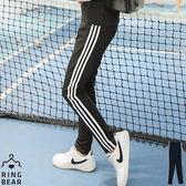 運動套裝--運動女孩系休閒素面撞色滾條運動長褲(黑XL-4L)-P117眼圈熊中大尺碼