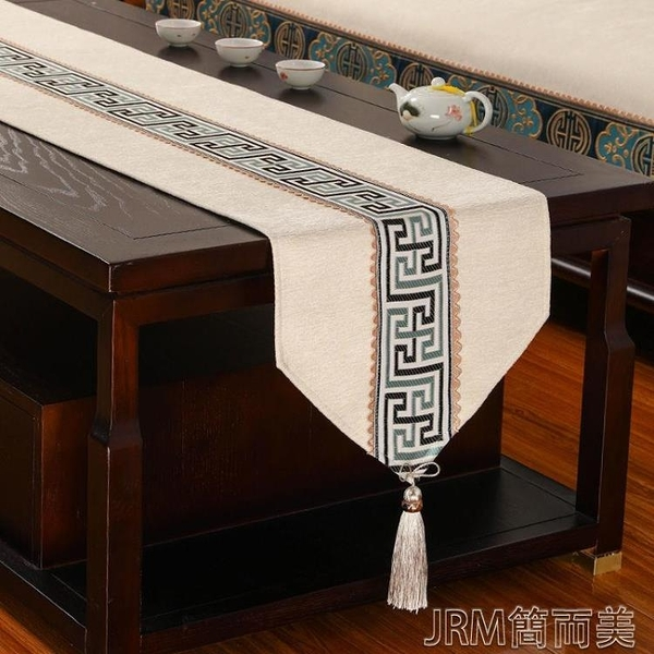 桌旗新中式桌旗禪意茶席茶幾桌布長條防滑布藝現代中國風茶臺布茶桌布 快速出貨