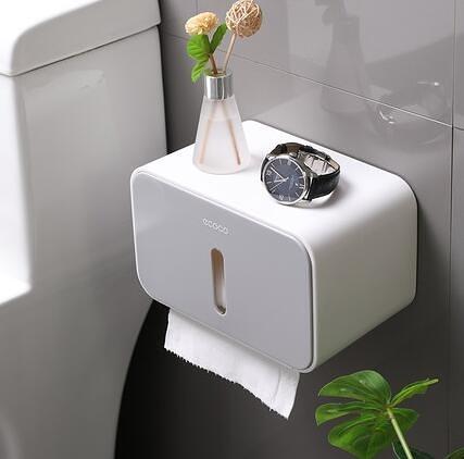 置物架 衛生紙盒衛生間紙巾廁紙置物架廁所家用免打孔創意防水抽紙卷紙筒【快速出貨好康八折】