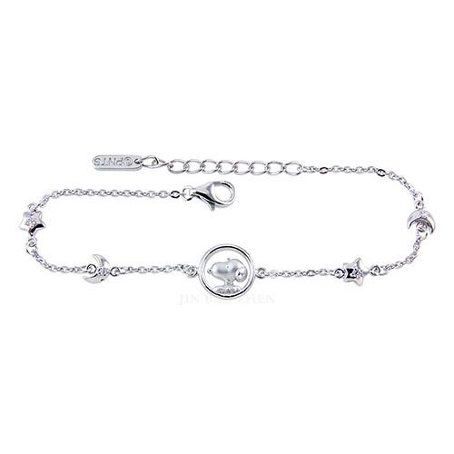 史努比SNOOPY-星光閃耀-純銀手鍊