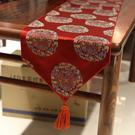 桌旗 絲綢桌旗臺布中國風茶桌旗中式禪意桌布紅色結婚喜慶茶幾旗布餐墊