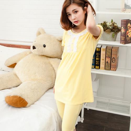 睡衣荷葉邊素蕾絲口圓領棉質成套休閒服 -黃-波曼妮亞 5002320