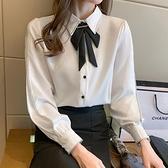 春裝新款雪紡襯衫女蝴蝶結上衣設計感小眾氣質顯瘦長袖襯衣 檸檬衣舍