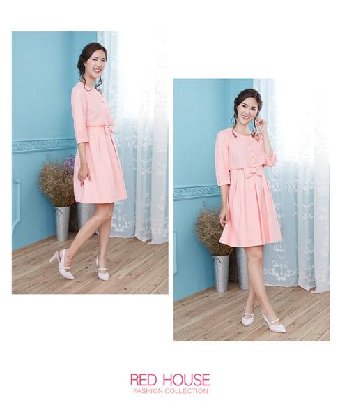 【RED HOUSE 蕾赫斯】閃亮金蔥紋路假兩件洋裝(共2色)