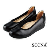 SCONA 全真皮 舒適輕量厚底鞋 黑色 22336-1
