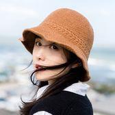 [現貨] 日系純色帽沿可彎折針織保暖漁夫帽 毛線帽 S3M8818