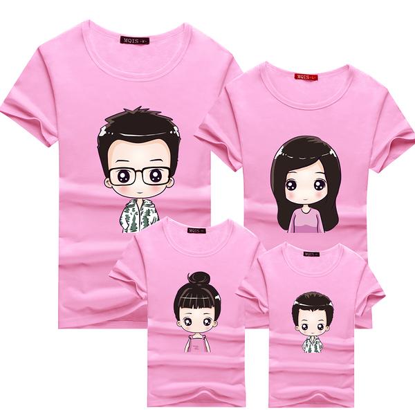 親子裝T恤粉色家庭裝可愛媽媽棉質T恤親子裝 現貨