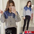 韓版撞色燈籠袖條紋襯衫 S-XL O-ker歐珂兒 173122