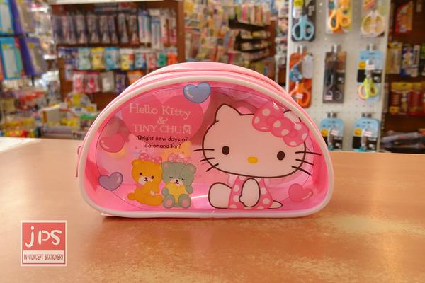 Hello Kitty 凱蒂貓 透明D型筆袋 收納袋 熊熊