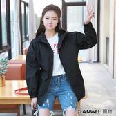 韓版夾克寬鬆休閒拼接風衣拉鏈