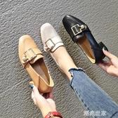 粗跟單鞋女2020春季新款軟妹小皮鞋仙女百搭韓版一腳蹬中跟樂福鞋『潮流世家』