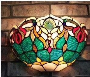 設計師美術精品館新款特惠高檔華麗歐式壁燈臥室床頭燈客廳家居燈彩色玻璃蒂凡尼燈