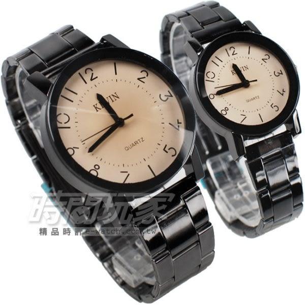 KEVIN 情人對錶 簡單羅馬時刻 時尚腕錶 IP黑電鍍 對款 KEV2068羅馬大+KEV2068羅馬小