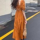 法式桔梗洋裝女夏季2021新款收腰顯瘦氣質小裙子心機短袖初戀裙 黛尼時尚精品
