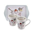 英國Pimpernel 小動物樂園設計款-兩杯一盤禮盒組(繽紛鳥園)