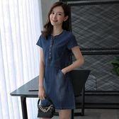 牛仔連身裙 2019夏裝新款韓版時尚大碼寬鬆短袖中長款a字裙女 YN675『易購3c館』